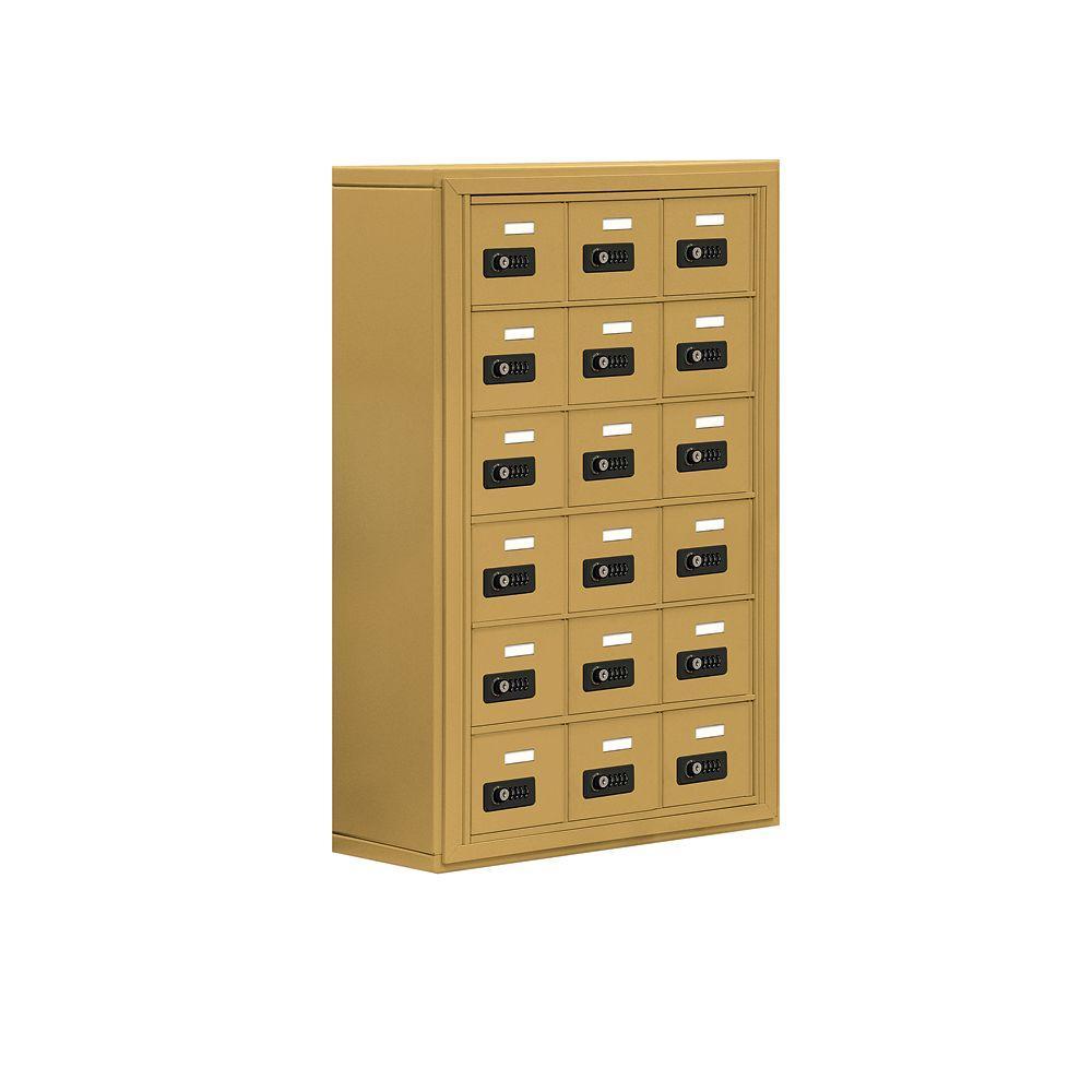 19000 Series 24 in. W x 36.5 in. H x 9.25 in. D 18 A Doors S-Mount Resettable Locks Cell Phone Locker in Gold