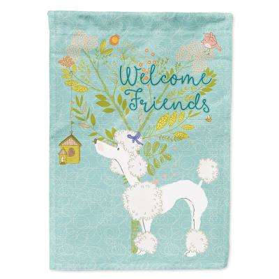 11 in. x 15-1/2 in. Polyester Welcome Friends White Poodle 2-Sided 2-Ply Garden Flag
