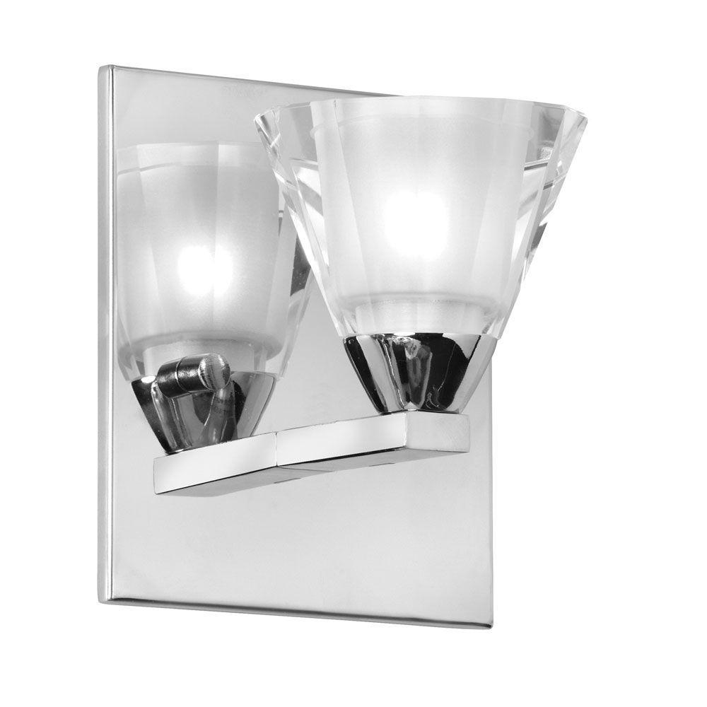 Radionic Hi Tech Nella 1-Light Polished Chrome Wall Sconce with Optical Crystal