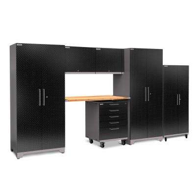 Performance Plus Diamond Plate 2.0 80 in. H x 161 in. W x 24 in. D Garage Cabinet Set in Black (7-Piece)