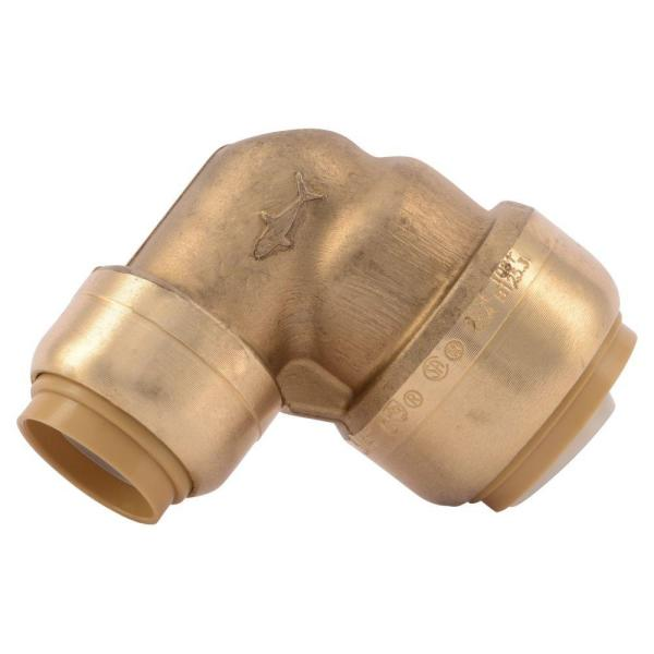 3/4 in. x 1/2 in. Push-to-Connect Brass 90-Degree Reducing Elbow Fitting