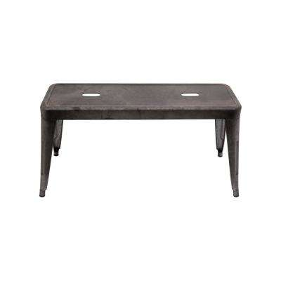 Grey and Brown Galvanized Metal Bench