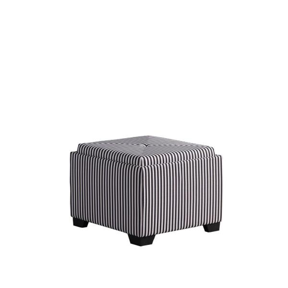 Black And White Stripes Single Tufted Storage Ottoman Hb4772 The