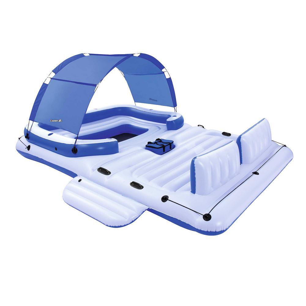 Bestway White Vinyl Rectangle CoolerZ Tropical Breeze 6-Person Floating Island Pool Lake Raft Lounge