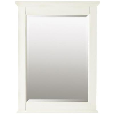 24 in. W x 32 in. H Framed Rectangular  Bathroom Vanity Mirror in Ivory