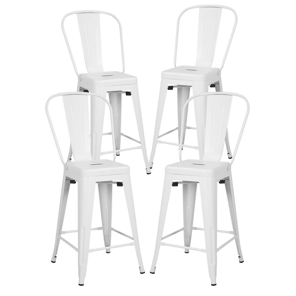 Poly And Bark Trattoria 24 In High Back Counter Stool In White Set