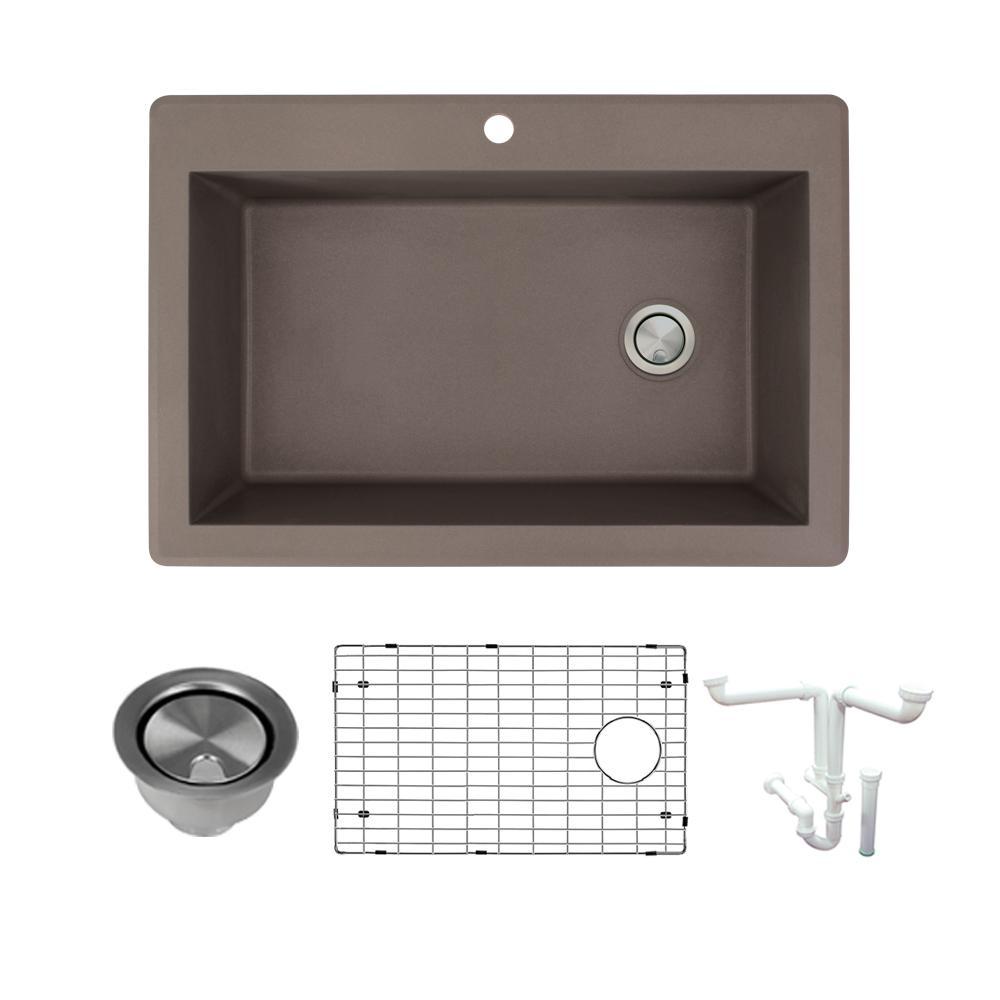 Radius All-in-One Drop-in Granite 33 in. 1-Hole Single Bowl Kitchen Sink in Espresso