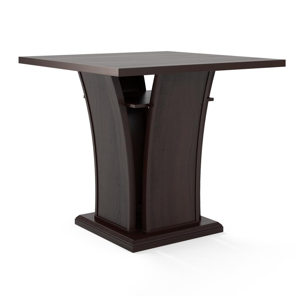 Bistro Cappuccino Counter Height Dining Table with Curved Base