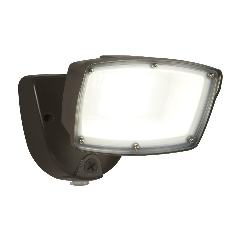 Halo FSL Single Head Bronze Outdoor Integrated LED Dusk to Dawn Flood Light with Selectable Color Temperature