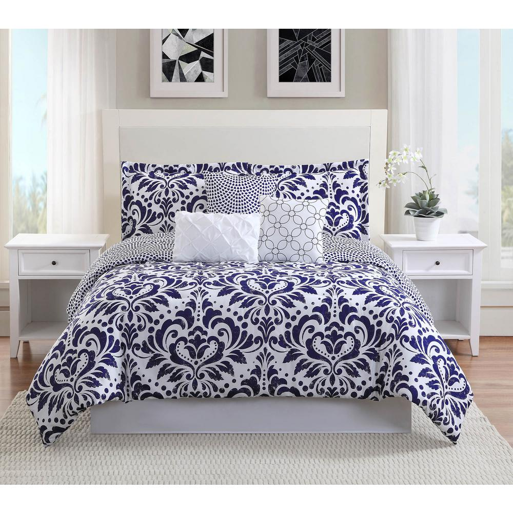 Anson 7-Piece Navy Reversible Queen Comforter Set