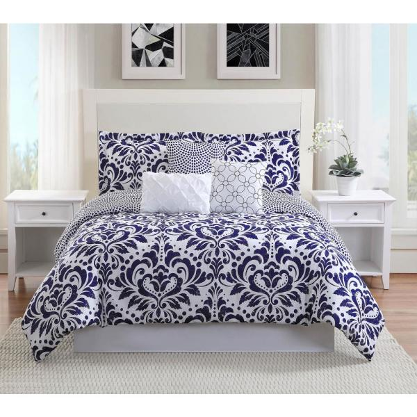 Anson 7-Piece Navy Reversible Queen Comforter Set YMZ007361