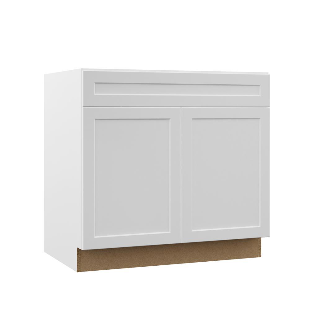 Designer Series Melvern Assembled 36x34.5x23.75 in. Sink Base Kitchen Cabinet in White