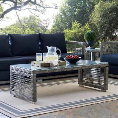 Aura Wicker Outdoor Coffee Table in Gray