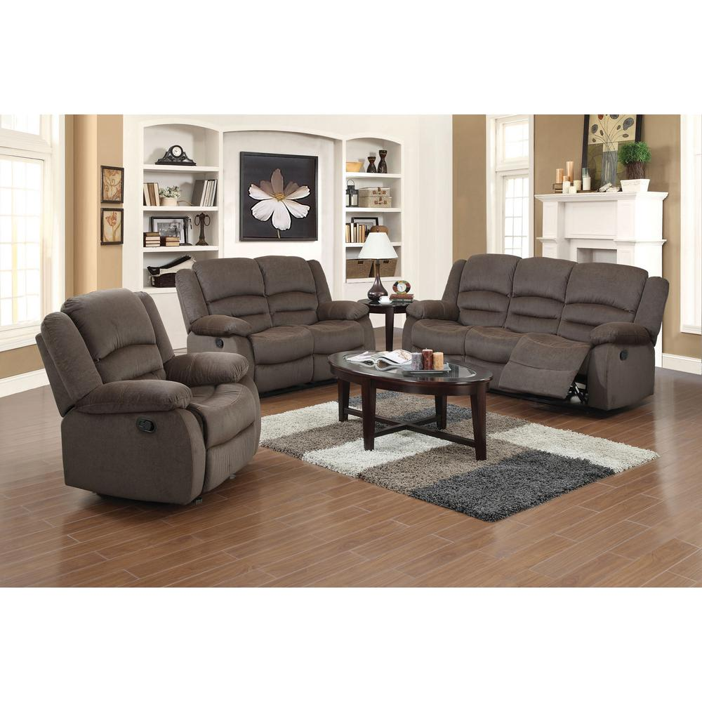 Ellis Contemporary Microfiber 3 Piece Dark Brown Living Room Set