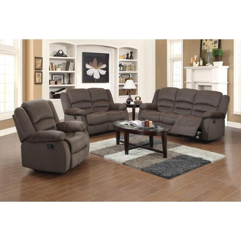 Ellis Contemporary Microfiber 3-Piece Dark Brown Living Room Set ...