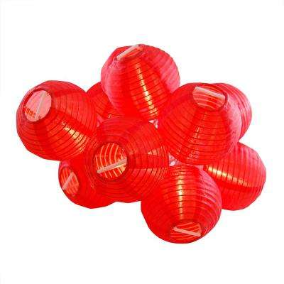 Nylon Lantern String Lights in Red
