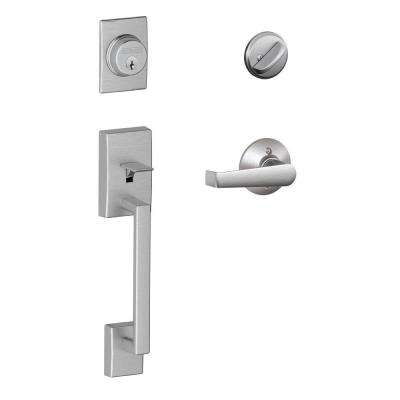 Century Satin Chrome Single Cylinder Deadbolt with Elan Lever Door Handleset