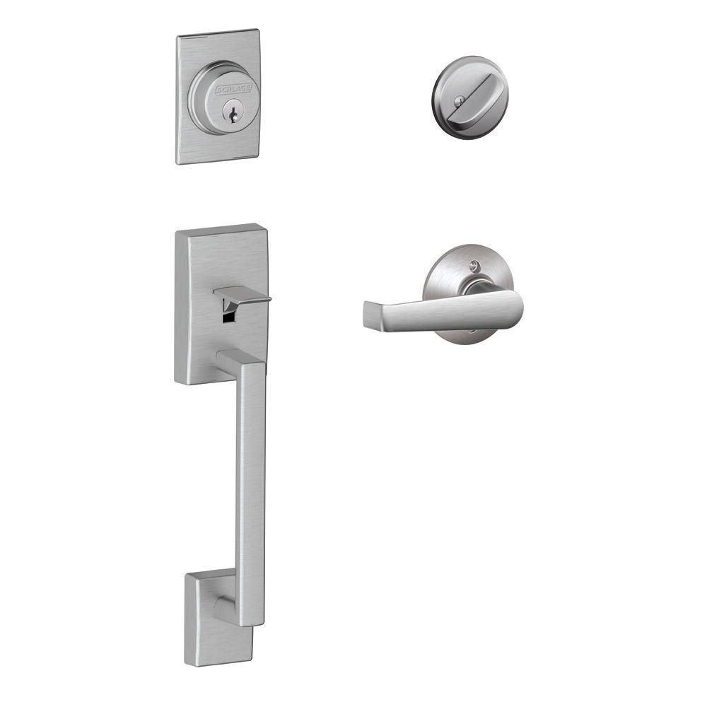 Century Satin Chrome Single Cylinder Deadbolt with Elan Lever Door Handleset