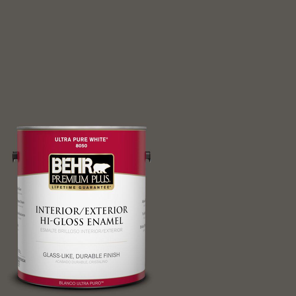 1-gal. #BXC-17 Dominant Gray Hi-Gloss Enamel Interior/Exterior Paint