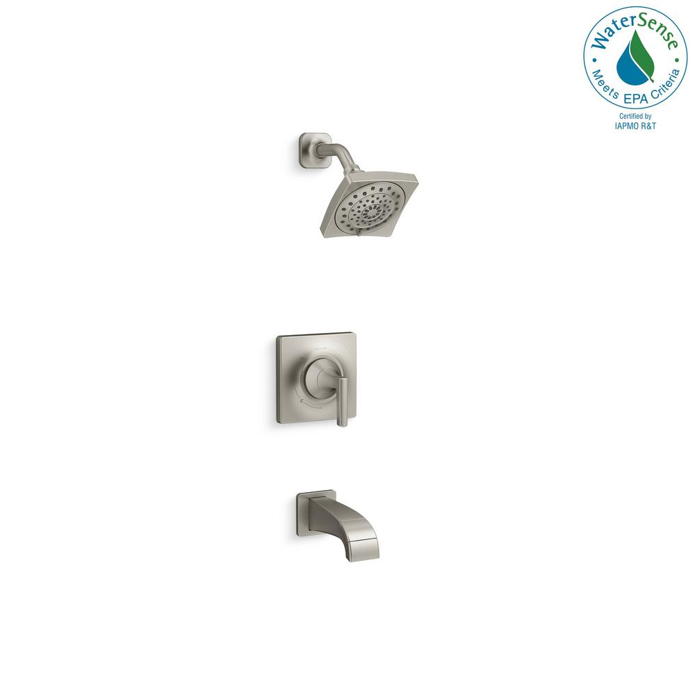 Katun 1-Handle 3-Spray Tub and Shower Faucet in Brushed Nickel (Valve