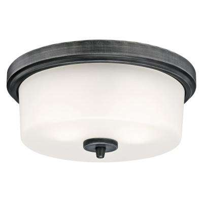 Courtfield 2-Light Distressed Aluminum Flush Mount