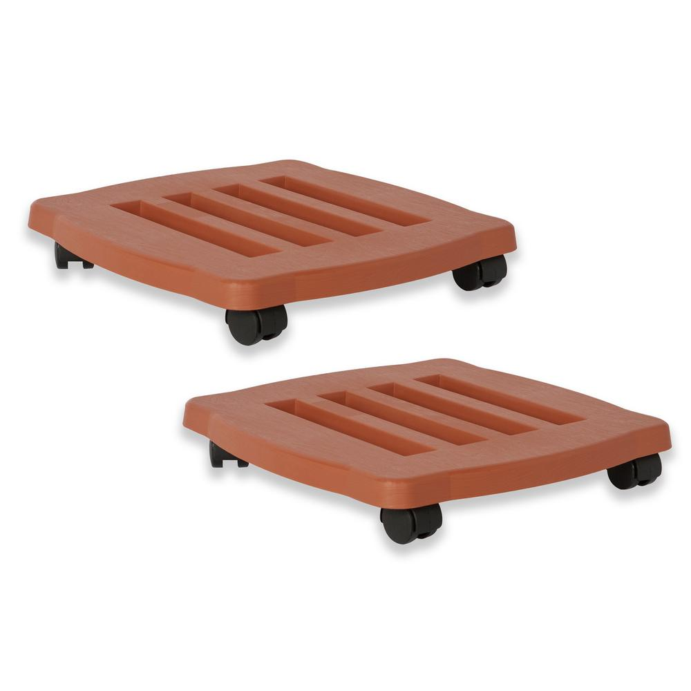 15 in. x 2.5 in. Terra Cotta Caddie Plant Dolly Plastic