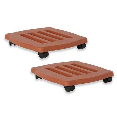 15 in. x 2.5 in. Terra Cotta Caddie Plant Dolly Plastic Square with Wheels (2-Pack)
