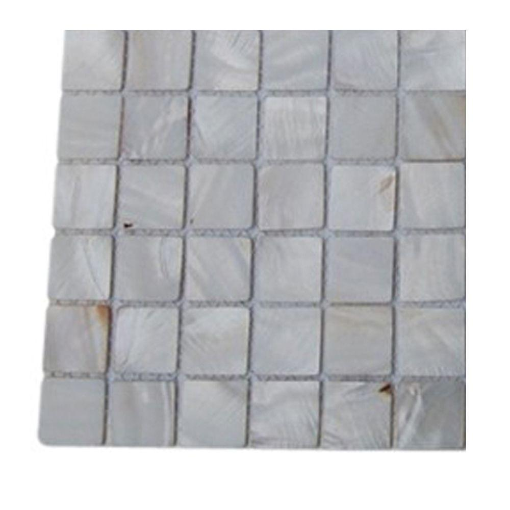 Splashback Tile Mother of Pearl Castel Del Monte White Pearl Glass Tile - 3 in. x 6 in. Tile Sample