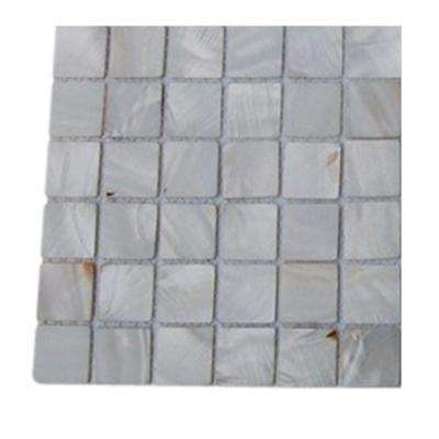 Mother of Pearl Castel Del Monte White Pearl Glass Tile - 3 in. x 6 in. Tile Sample