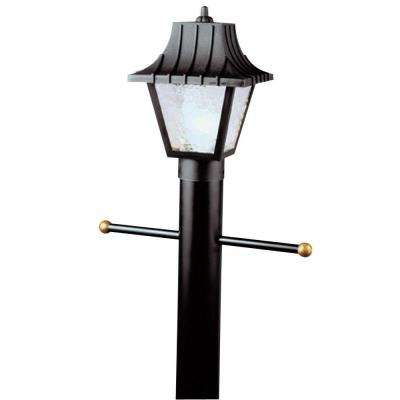 1-Light Black Hi-Impact Polycarbonate Post-Top Exterior Lantern with Clear Textured Acrylic Panels