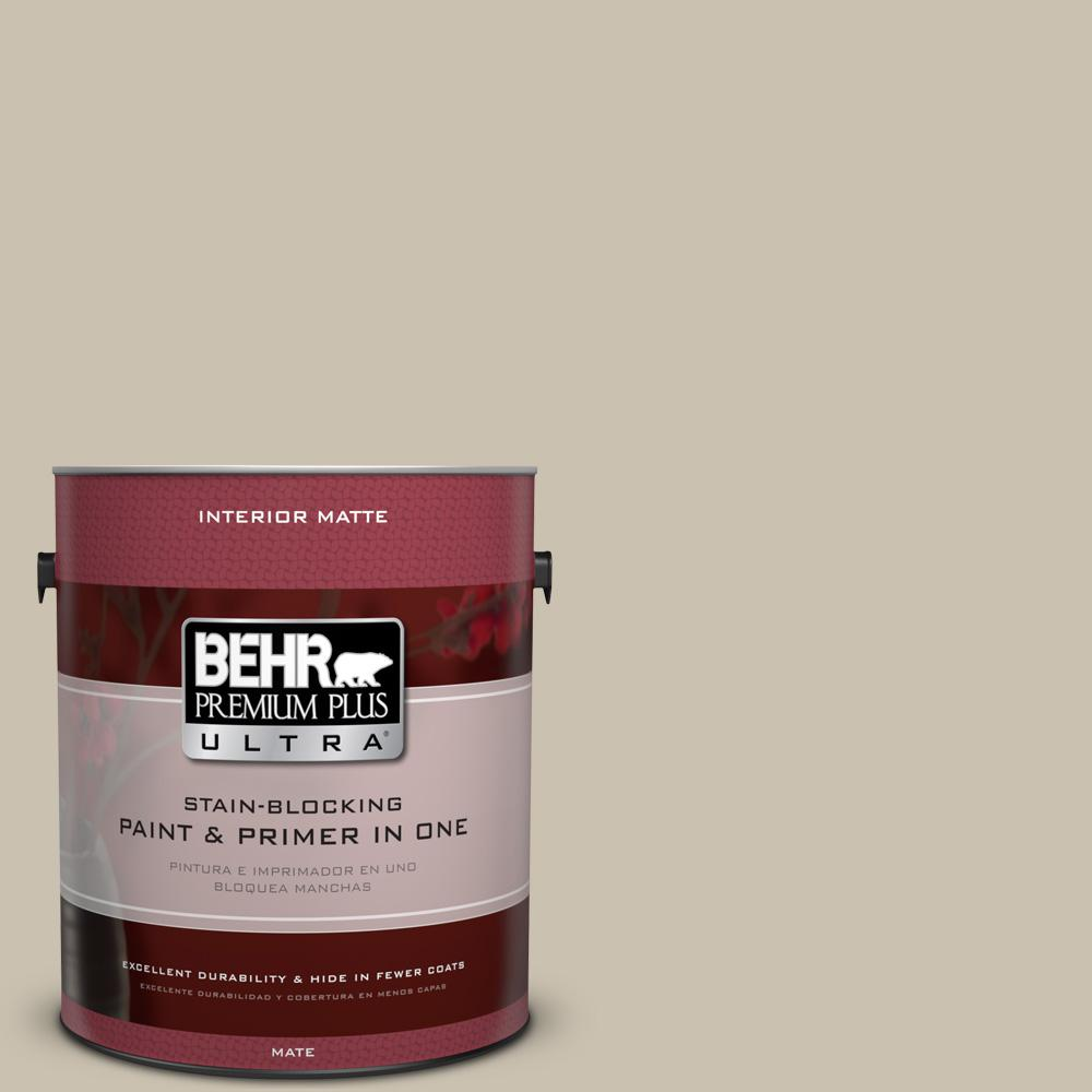 BEHR Premium Plus Ultra 1-Gal. #UL170-8 Washed Khaki Interior Flat Enamel Paint