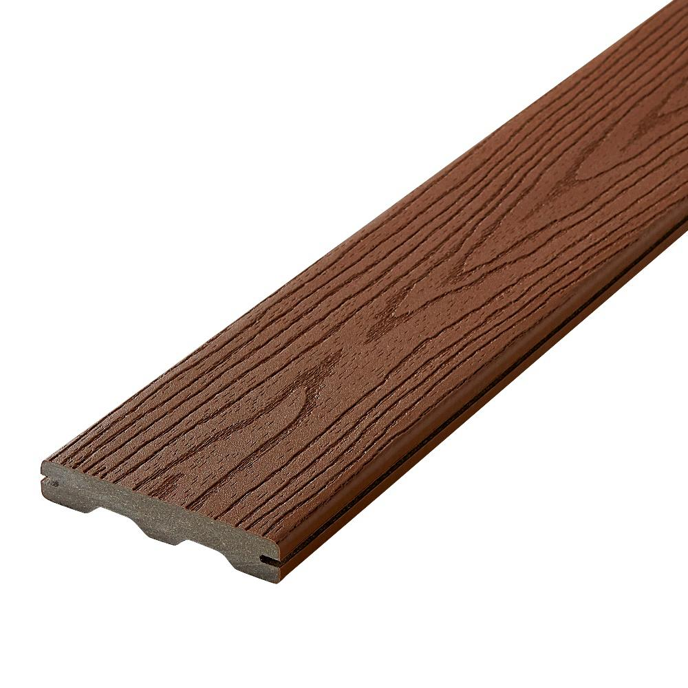 Fiberon good life 1 in x 5 1 4 in x 12 ft cabin grooved for Composite decking boards