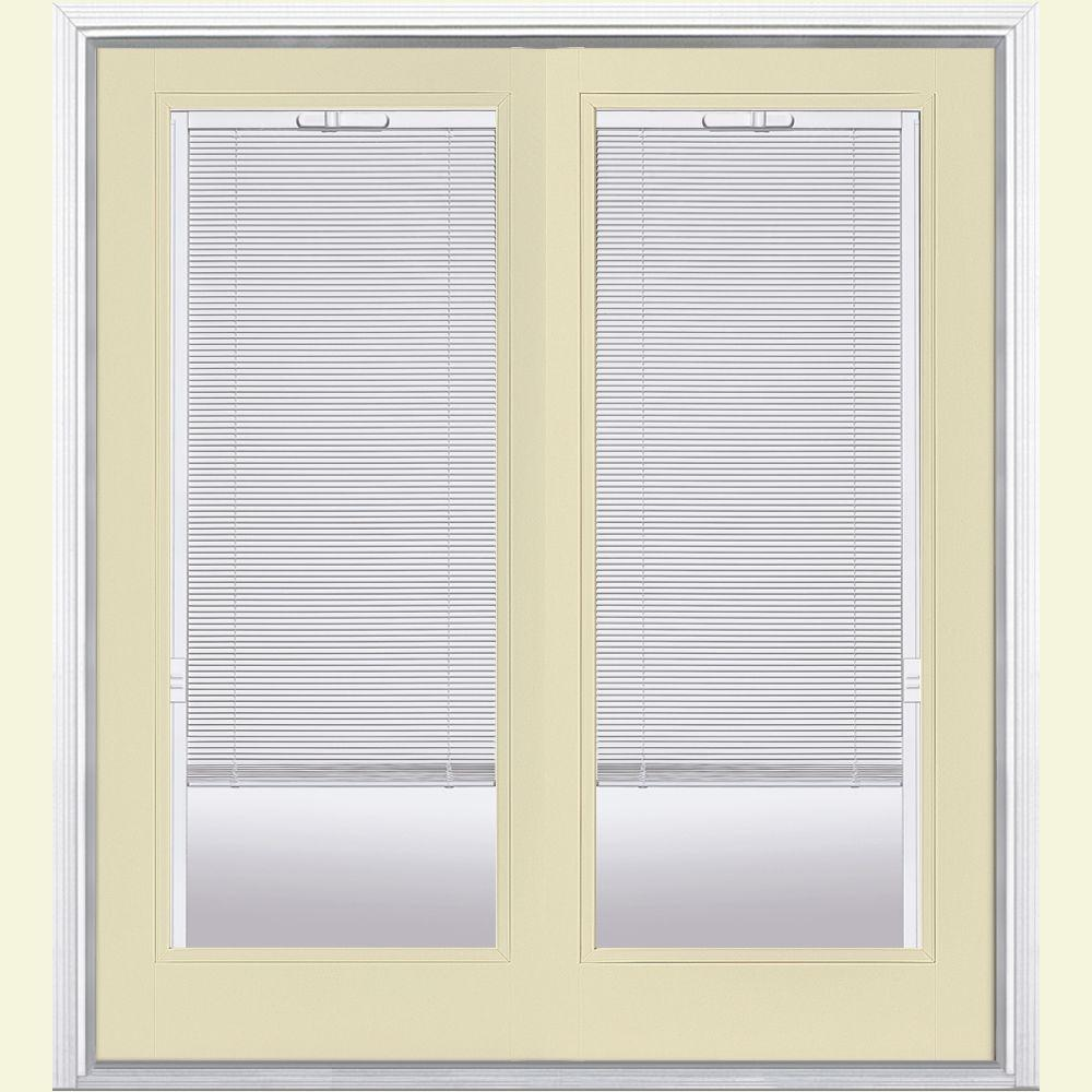 Masonite 72 in. x 80 in. Golden Haystack Prehung Right-Hand Inswing Mini Blind Fiberglass Patio Door with Brickmold