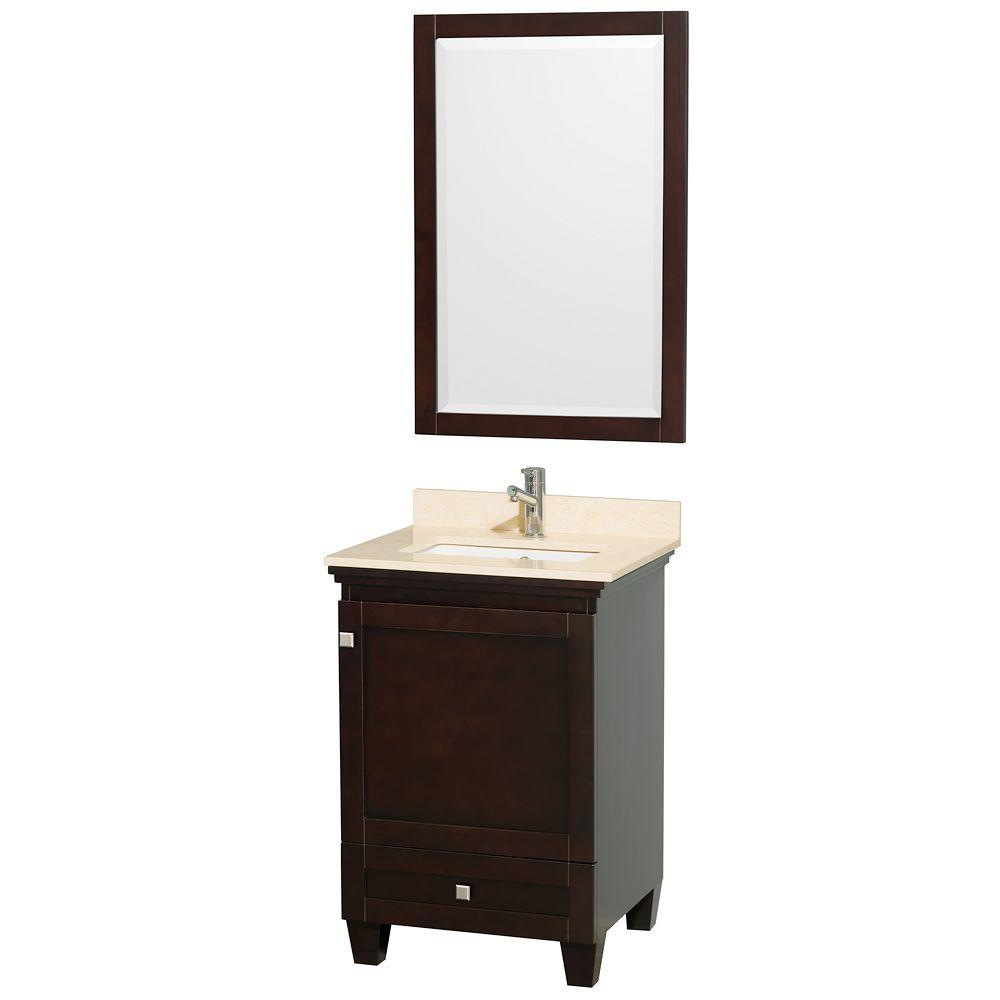 Wyndham Collection Acclaim 24 in. Vanity in Espresso with Marble Vanity Top in Ivory, Square Sink and Mirror