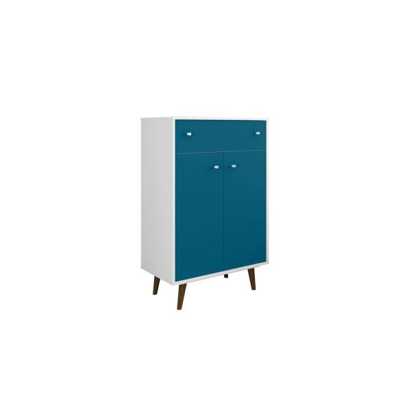 Manhattan Comfort Liberty 28.07 in. White and Aqua Blue Storage Cabinet