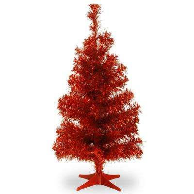 3 ft. Red Tinsel Artificial Christmas Tree