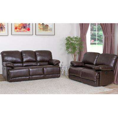 Lea 2-Piece Chocolate Brown Bonded Leather Power Recliner Sofa and Chair Set with USB Port