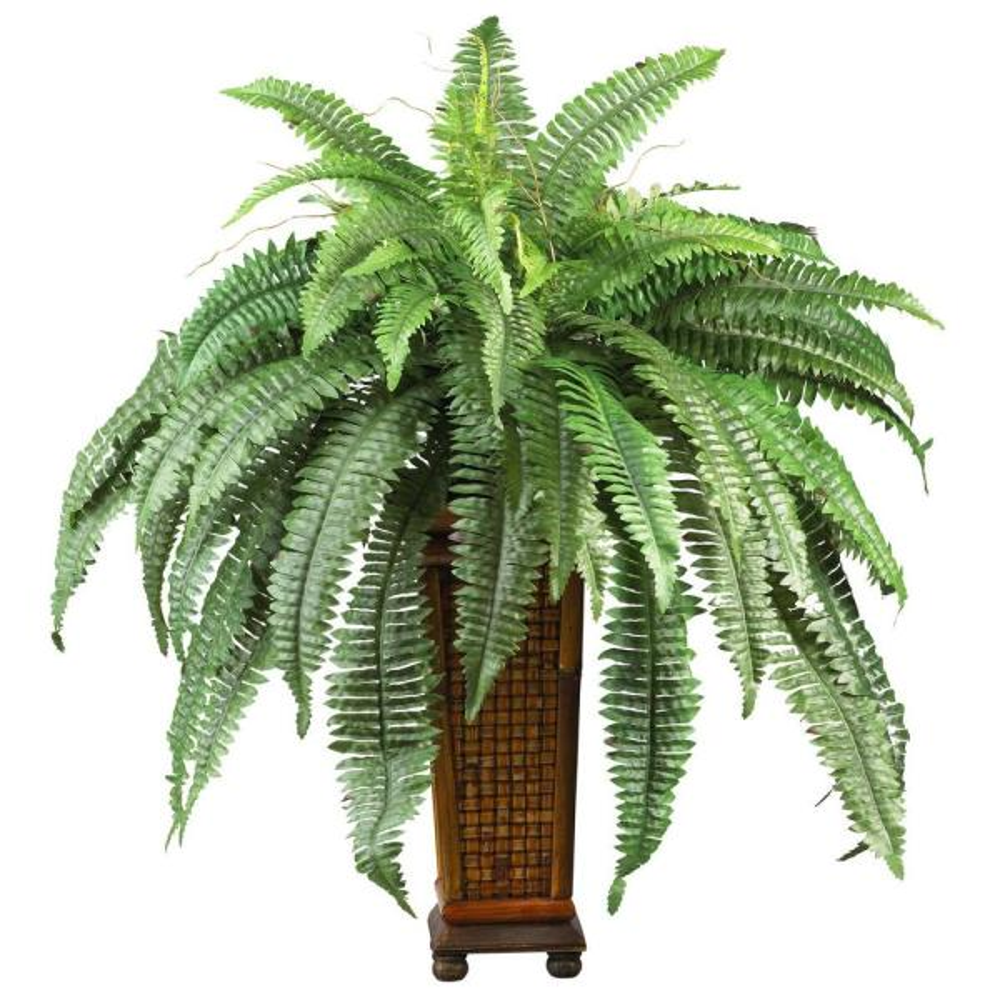 33 in. Boston Fern Silk Plant with Decorative Vase