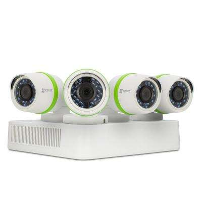 Security Camera System 4 HD 720p Cameras 4-Channel DVR with 1TB HDD 100 ft. Night Vision Works with Alexa Using IFTTT