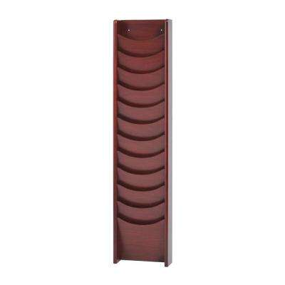 Solid Oak 12-Pocket Literature Display Rack in Mahogany