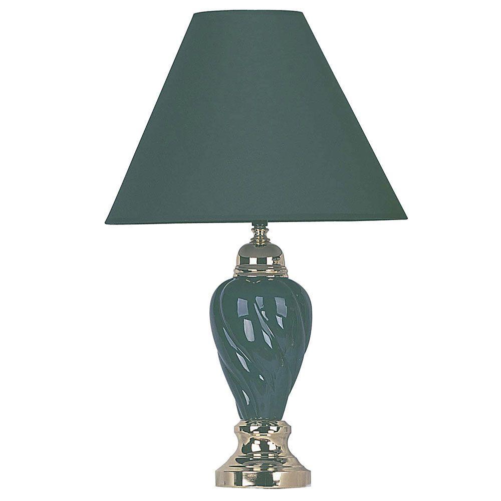 22 in. Ceramic Green Table Lamp