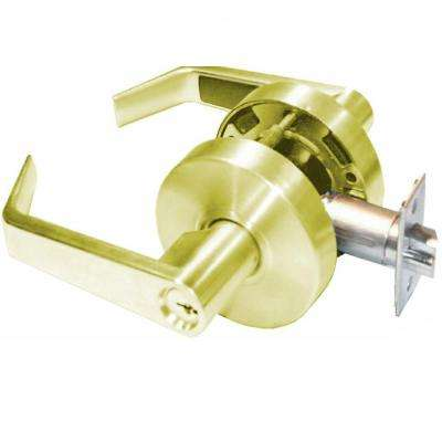 Saturn Series Keyed Entry Cylindrical Door Lever Set Grade 2 in Bright Brass