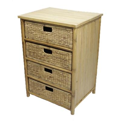 Shelly Assembled 22.5 in. x 22.5 in. x 18.5 in. Natural Bamboo Accent Storage Cabinet with 4 Baskets