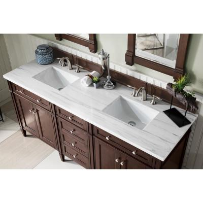 Brittany 72 in. Single Bath Vanity in Burnished Mahogany with Solid Surface Vanity Top in Arctic Fall with White Basin