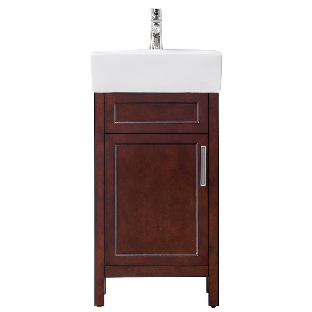 Home Decorators Collection Arvesen 18 in. W x 12 in. D Vanity in Tobacco with Ceramic Vanity Top in White with White Sink