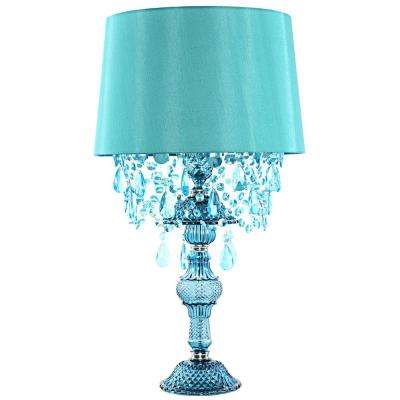 Poetic Wanderlust by Tracy Porter 26 in. Blue Table Lamp with Alisal Satin Shade and Cascading Crystal Jewels