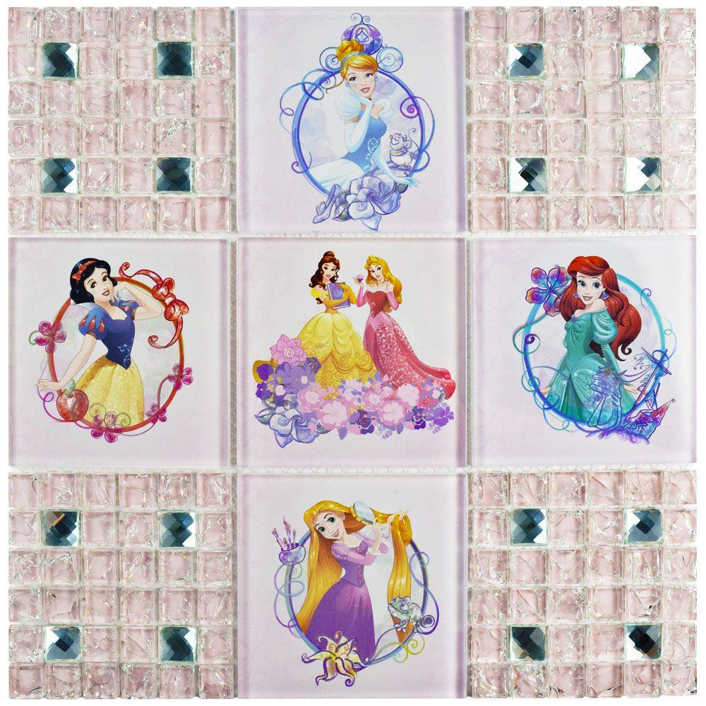 Disney Princesses Sparkle 11-3/4 in. x 11-3/4 in. x 5 mm Glass Mosaic Tile