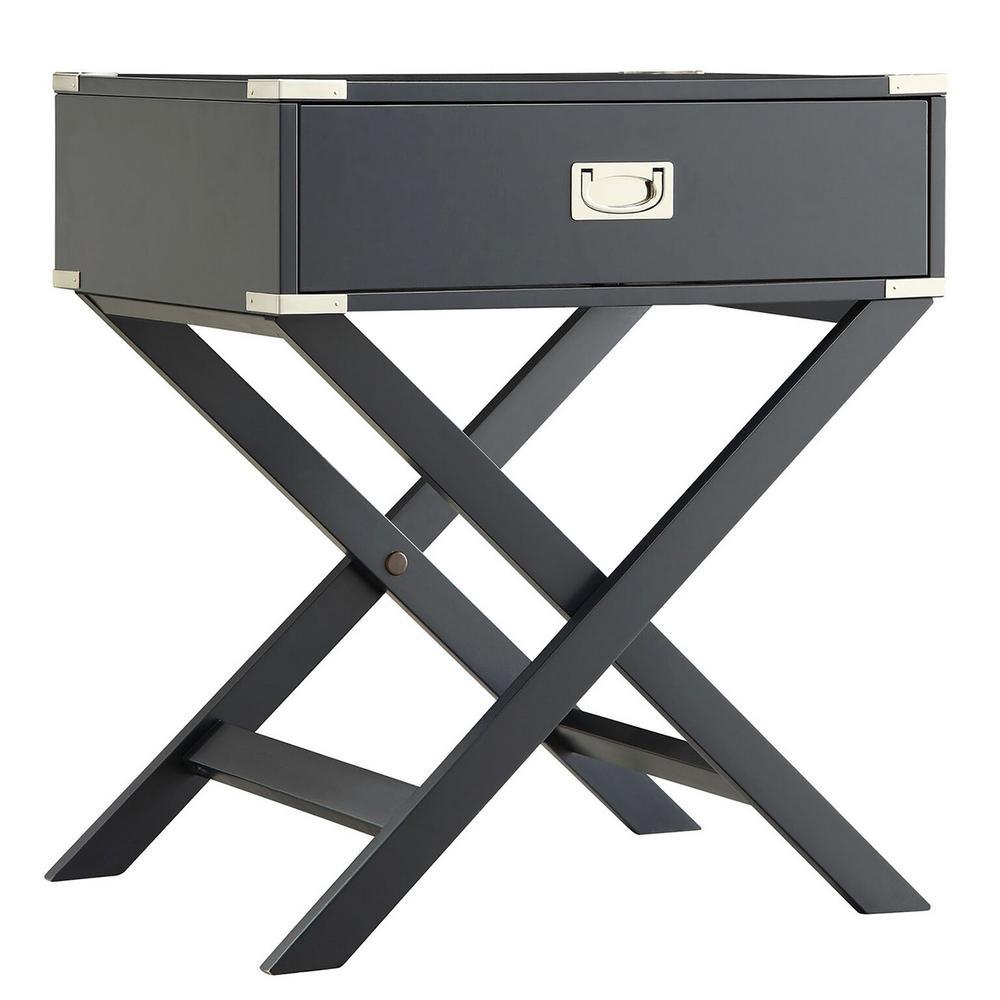 Wenderson 1-Drawer Black Nightstand