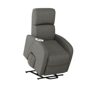 Modern Power Recline and Lift Chair with Heat and Massage in Pewter Gray Chenille