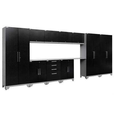 Performance Diamond Plate 2.0 72 in. H x 186 in. W x 18 in. D Garage Cabinet Set in Black (12-Piece)